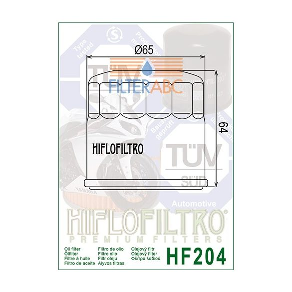 HIFLOFILTRO HF204 motorkerékpár olajszűrő